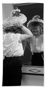 1950s Little Girl Trying On Hat Looking Bath Towel