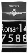 1951 Ferrari 212 Export Berlinetta Rear Emblem - License Plate -0775bw Bath Towel