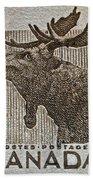 1953 Canada Moose Stamp Bath Towel