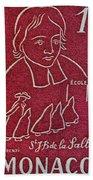1954 De La Salle Monaco Stamp Bath Towel