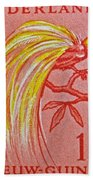 1954 Netherlands New Guinea Paradise Bird Stamp Bath Towel