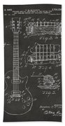 1955 Mccarty Gibson Les Paul Guitar Patent Artwork - Gray Bath Towel by Nikki Marie Smith