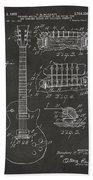 1955 Mccarty Gibson Les Paul Guitar Patent Artwork - Gray Bath Towel