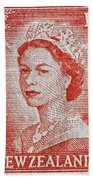 1956 Queen Elizabeth New Zealand Stamp Bath Towel