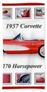 1957 Chevrolet Corvette Art Bath Towel