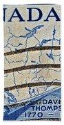 1957 David Thompson Canada Stamp Bath Towel