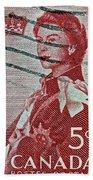 1957 St. Lawrence Seaway Opening Stamp Bath Towel