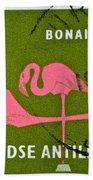 1958 Netherlands Antilles Flamingoes Stamp - Curacao Postmark Bath Towel