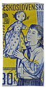 1959 Czechoslovakia Stamp Bath Towel