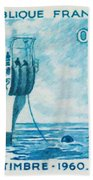 1960 Day Stamp Installation Of A Submarine Cable Bath Towel