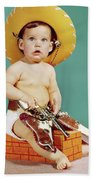 1960s Baby Wearing Cowboy Hat Bath Towel