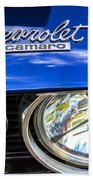 1967 Chevrolet Camaro Ss 350 Headlight - Hood Emblem  Bath Towel