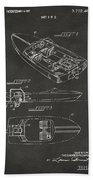 1972 Chris Craft Boat Patent Artwork - Gray Bath Towel