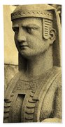 19th Century Granite Stone Sepia Sphinx Bust Poster Look Usa Bath Towel