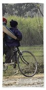 3 Young Children On A Cycle At The Side Of The Road Bath Towel