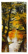 A River Landscape In Springtime Bath Towel