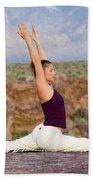 A Woman Practicing Yoga On A Dry Lake Bath Towel