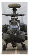 Ah-64 Apache Helicopter On The Runway Bath Towel