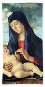 Bellini's Madonna And Child In A Landscape Bath Towel