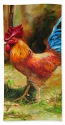 Blue-tailed Rooster Bath Towel by Diane Kraudelt