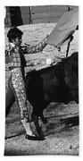Bull Fight Matador Charging Bull Us-mexico  Border Town Nogales Sonora Mexico 1978-2012 Bath Towel