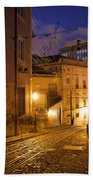 Calcada Da Gloria Street At Night In Lisbon Bath Towel
