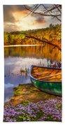 Canoe At The Lake Hand Towel