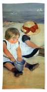 Cassatt's Children Playing On The Beach Bath Towel