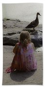 Children At The Pond 3 Bath Towel