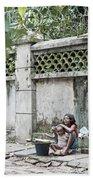 Children On Street Of Yangon Myanmar Bath Towel