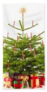Christmas Tree Decorated With Presents  Bath Towel