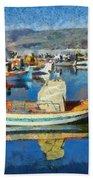 Colorful Boats Bath Towel