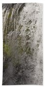 Curtain Of White Water Falling From Rocky Cliff Bath Towel
