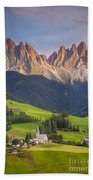 Dolomites From Val Di Funes Bath Towel