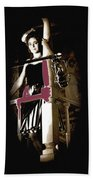Film Noir Dance Hall Girl Looks Down On Robert Mitchum The King Of Noir Filming Old Tucson Az 1968 Hand Towel