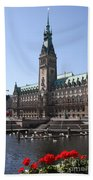 Hamburg - City Hall With Fleet - Germany Bath Towel