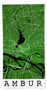 Hamburg Street Map - Hamburg Germany Road Map Art On Colored Bac Bath Towel