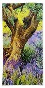 Lavender And Olive Tree Bath Towel