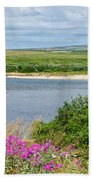 2-lay Of The Land-grizzly Bears In Moraine River In Katmai Np-ak Bath Towel