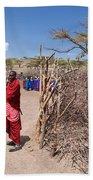 Maasai People And Their Village In Tanzania Bath Towel