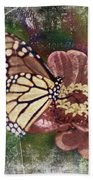 Monarch- Butterfly Mixed Media Photo Composite Bath Towel
