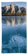 Mt. Michener And Ice On Abraham Lake Bath Towel