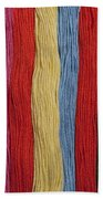 Multicolored Embroidery Thread In Rows Bath Towel