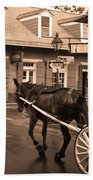 New Orleans - Bourbon Street Horse 3 Bath Towel