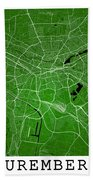 Nuremberg Street Map - Nuremberg Germany Road Map Art On Colored Bath Towel