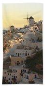 Oia At Sunset Santorini Cyclades Greece  Bath Towel