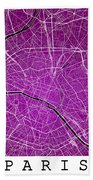 Paris Street Map - Paris France Road Map Art On Colored Backgrou Bath Towel