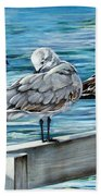 Pier Gulls Bath Towel