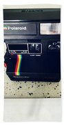 Polaroid Camera.  Hand Towel by Les Cunliffe