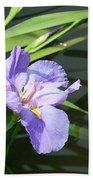 Purple Iris Reflection Bath Towel